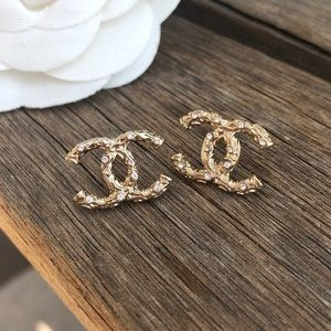 CHANEL Jewelry - Chanel gold & crystal CC logo stud earrings